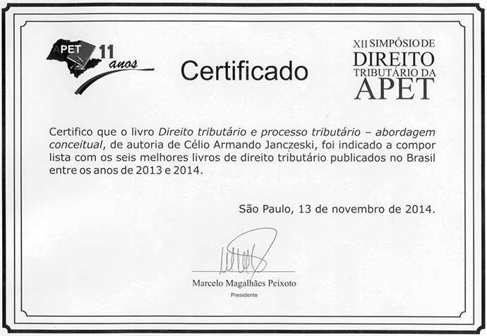 Prêmio de melhor obra de Direito Tributário de 2013 e 2014