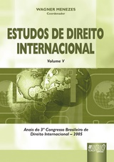 Capa do livro: Estudos de Direito Internacional - Vol. V, Coord: Wagner Menezes