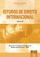 Capa do livro: Estudos de Direito Internacional - Volume IX, Coordenador: Wagner Menezes