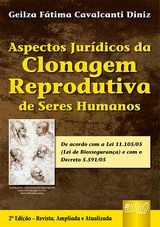 Capa do livro: Aspectos Jurídicos da Clonagem Reprodutiva de Seres Humanos, Geilza Fátima Cavalcanti Diniz