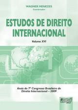 Capa do livro: Estudos de Direito Internacional - Volume XVI - Anais do 7º Congresso Brasileiro de Direito Internacional - 2009, Coordenador: Wagner Menezes
