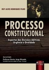 Capa do livro: Processo Constitucional - Aspectos das Decisões Aditivas, Urgência e Oralidade - Apresentação: Professor Doutor Jorge Miranda, Ruy Alves Henriques Filho
