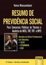 Capa do livro: Resumo de Previdência Social - Para Concursos Públicos de Técnico e Analista do INSS, TRF, TRT e MPS, Vania Massambani