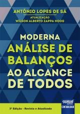 Capa do livro: Moderna Análise de Balanços ao Alcance de Todos, Antônio Lopes de Sá - Atualização: Wilson Alberto Zappa Hoog