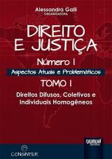Capa do livro: Direito e Justiça - Número I - Aspectos Atuais e Problemáticos - Tomo I - Direitos Difusos, Coletivos e Individuais Homogêneos, Organizadora: Alessandra Galli