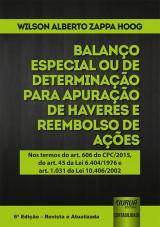 Capa do livro: Balanço Especial ou de Determinação para Apuração de Haveres e Reembolso de Ações, Wilson Alberto Zappa Hoog