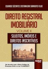 Capa do livro: Direito Registral Imobiliário - Volume II, Eduardo Sócrates Castanheira Sarmento Filho