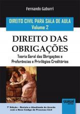 Capa do livro: Direito Civil para Sala de Aula - Volume 2 - Direito das Obrigações, Fernando Gaburri
