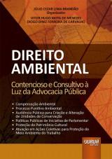 Capa do livro: Direito Ambiental, Organizador: Júlio Cezar Lima Brandão, Coautores: Vitor Hugo Mota de Menezes e Diogo Diniz Ferreira de Carvalho