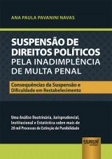 Capa do livro: Suspensão de Direitos Políticos pela Inadimplência de Multa Penal - Consequências da Suspensão e Dificuldade em Restabelecimento, Ana Paula Pavanini Navas