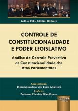 Capa do livro: Controle de Constitucionalidade e Poder Legislativo, Arthur Paku Ottolini Balbani